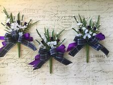 Scottish Traditional Buttonhole Thistle  Purple Tartan / Pride Of Bannockburn