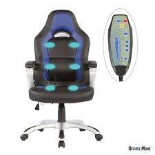 Race Car Office Massage Chair Heated Vibrating PU Leather Ergonomic Computer