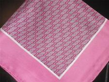 "NEW 14"" 100% SILK POCKET SQUARE HAND ROLLED PINK SHERBET  PRINT"