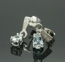 9carat White Gold Pear Aquamarine & Diamond Drop Stud Earrings (4x15mm)