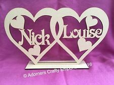 Personalised Entwined Heart Couples Wedding Wood Mdf Standing Plaque 30 X 17cm