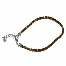 "5 x Brown Twisted Leather Bracelet Cords 7.5"" length with 2"" extension - C0132"