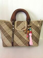 Woven Straw Bag Designer Style Wooden Handles Beads Tassell Spring Summer Fashio