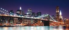 Wall mural wallpaper Brooklyn Bridge night illuminated New York NYC photo 90 cm