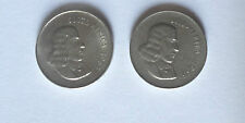 South Africa RSA 1965 20 cent apartheid era (2 coins) English and Afrikaans