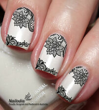 Black Lace Nail Art Sticker Water Transfer Decal Tattoo 34
