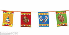 COWBOYS INDIANS NATIVE BIRTHDAY PARTY FLAG BANNER BUNTING DECORATION PARTYWARE