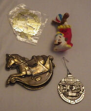 Lot of 4 Christmas Ornaments Clown Rocking Horse Decoration Holiday Ornament