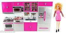My Modern Kitchen Full Deluxe Kit Battery Operated Toy Doll Kitchen Playset