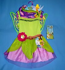 Disney Tinkerbell Fairy costume dress girls 4-6X;wings;jewelry;headband set;LOT