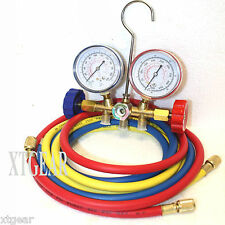 "HVAC R12 R22 R502 A/C DIAGNOSTIC MANIFOLD GAUGE KIT W/3 Color 60"" CHARGING HOSES"