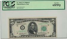 1950-B $5 Pcgs Gem New 65Ppq Federal Reserve Note Lot 172