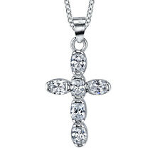 925 Sterling Silver CZ Classic Traditional Cubic Zirconia Pendant Necklace Gift
