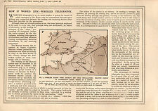 1915 WWI PRINT ~ WIRELESS TELEGRAPHY RANGES OF TRANSMISSION AIRSHIP SUBMARINE