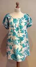 JOULES WHITE BLUE FLORAL TUNIC DRESS SIZE 14 COTTON LINEN