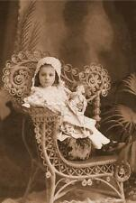 ANTIQUE DOLL CHILD GIRL VIctorian wicker chair sepia photograph canvas art print