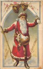 MERRY CHRISTMAS HOLIDAY SANTA CLAUS WALKING STICK DOLL & TOYS (c. 1910)