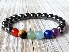 7 Root Chakras Healing Bracelet Hematite Wrist Mala Beads Balancing Yoga Jewelry