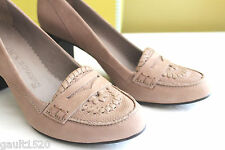NIB Jack Rogers Tan Taupe Suede Leather Penny Loafer Heels Chic Pumps 8 M $228