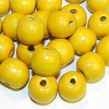 W752p Yellow 20mm Round Large Wood Beads 100-Grams