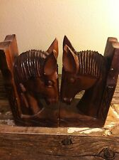 vintage Monkey Pod Wooden Bookends Horse Heads Phillipines