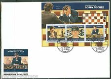 GUINEA 2013 70th BIRTH  ANNIVERSARY OF BOBBY FISCHER CHESS SHT  FIRST DAY COVER
