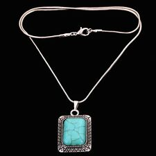 Fashion Elegant Tibetan Silver Carved Square Shape Turquoise Pandent Necklace