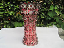 "VINTAGE BOHEMIA  QUEEN LACE GOLD RUBY  24% LEAD CRYSTAL VASE 10"" NIB"