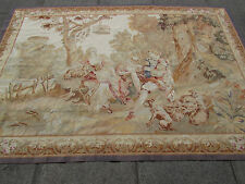 Hand Made French Design Original Wool Silk Faded Aubusson Tapestry 233X157cm