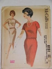 McCall's Easy Pattern 6151 Vintage 1960 Size 12 Dress Pencil Skirt Blouse Top