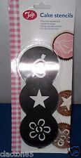 Tala flor corazón Star Cup Cake Decorating patrón de diseño de plantilla de marcadores X 3