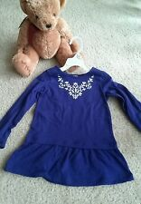 Carter's baby girl long sleeve navy top with white embroidery flowers ,size 4T
