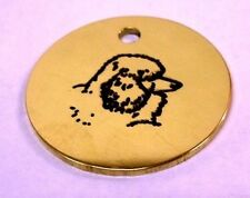 POODLE ENGRAVED BRASS ID TAG. FREE POSTAGE!
