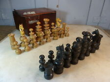 Antique wooden carved chess set in box