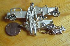 LADY WALKING SCOTTY DOG IN FRONT OF 3 OLD CARS Goldtone  Pin Brooch