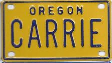 CARRIE Yellow Oregon - Mini License Plate - Name Tag - Bicycle Plate!