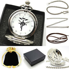Fullmetal Alchemist Necklace Chain Vintage Quartz Pocket Watch Set +Gift Box