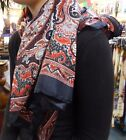 Silky Paisley Design Square Scarf, Shawl, Wrap Black and Red