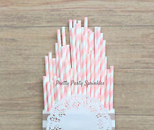 25 Light Pink Striped Straws/Baby Girl Shower/Wedding/Bridal Shower/Tea Party