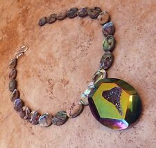 GENUINE ABALONE PEARL PENDANT NECKLACE PRISM GEODE DRUZY CRYSTAL JEWELRY USA