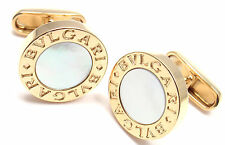 Authentic! Bvlgari Bulgari 18k Yellow Gold Mother Of Pearl Cufflinks