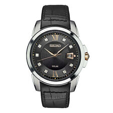 New Seiko Le Grand Solar Diamond Dial Leather Strap Men's Watch SNE427