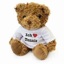 NEW - ICH LIEBE TENNIS - Cute And Cuddly Teddy Bear - Gift Present Birthday Xmas