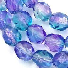 25 Firepolish Czech glass Faceted Round Beads Dual Coated - Pink/Blue  6mm