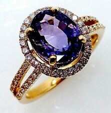 GIA Certified 14kt Y/Gold 3.08 tcw Oval Violet Natural Sapphire & Diamond Ring