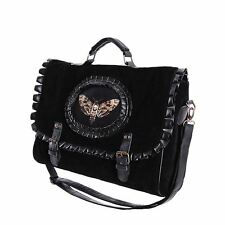 Restyle Hawk Moth Cameo Black Velvet & Faux Leather Satchel Hand Bag