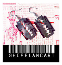 PENDIENTES CUCHILLA HOJA AFEITAR SANGRE HALLOWEEN / EARRINGS BLADE RAZOR BLOOD