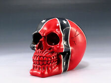 SKULL WITH FLAG SKELETON FIGURINE STATUE HALLOWEEN