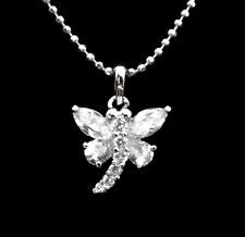 CZ CRYSTAL PAVE SETTING TINY DRAGONFLY PENDANT CHARM NECKLACE SILVER TONE CLEAR