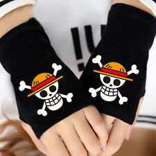 Anime One Piece Luffy Strawhat Pirates Skull Cotton Gloves Fingerless Mittens